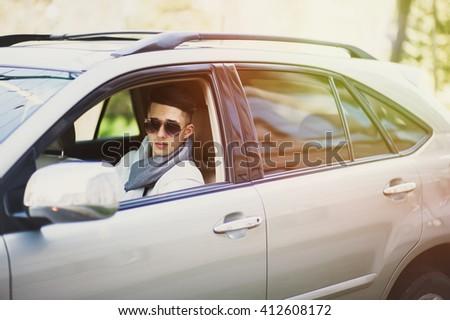 Stylish Man Car Waiting Someone Serious Stock Photo Edit Now