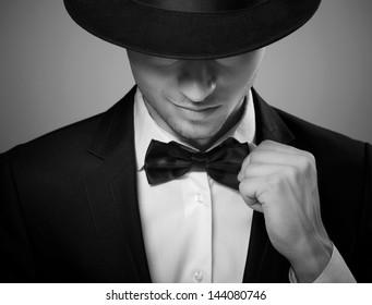 stylish man in elegant black suit