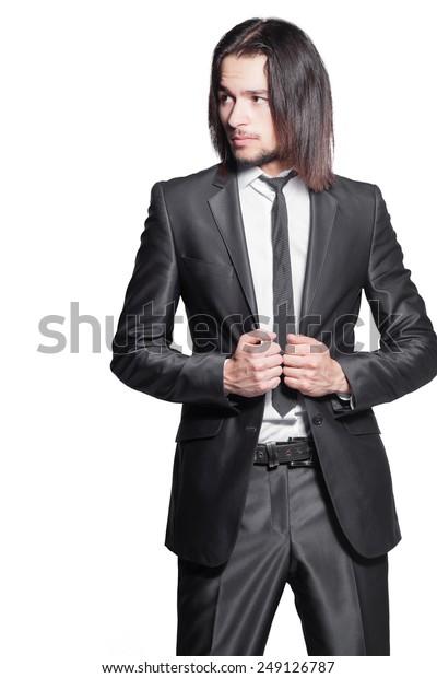 Stylish Man Long Hair Elegant Black Stock Photo Edit Now 249126787