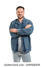 Stylish man on white background