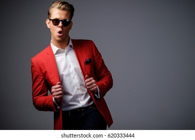 Stylish man in red jacket.