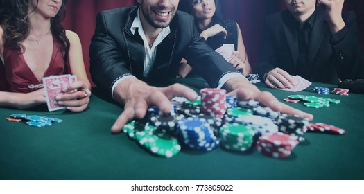 Stylish man wins in the casino