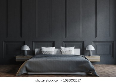 Stylish master bedroom interior with black walls, a black bed with two bedside tables and a wooden floor. 3d rendering mock up