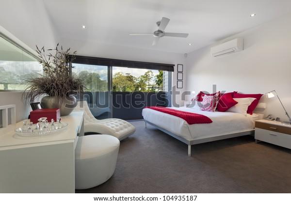 Stylish Master Bedroom Luxury Australian Mansion Stock Photo ...