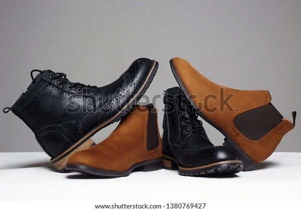 stylish men's shoes. men fashion still life. different boots