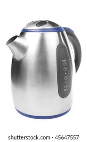 Stylish metal electric kettle isolated on white