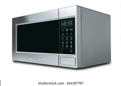 stylish microwave oven on white background