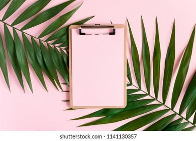 Stylish minimal composition with clipboard and green leaves on a pink pastel background. Artwork mockup with copy space