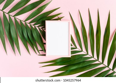 Stylish minimal composition with photo frame and green leaves on a pink pastel background. Artwork mockup with copy space