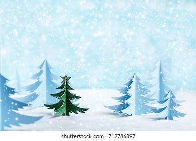 Stylish minimalistic Christmas card. Paper tree. copy space