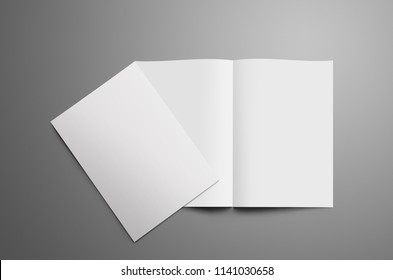 Stylish mockup with two blank A4,(A5) bi-fold brochure with realistic  shadows isolated on gray background. One booklet is closed and lie on open on the spread. Template can be used for your showcas