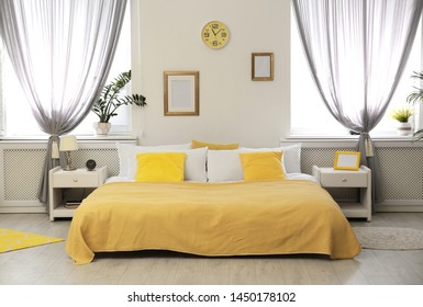 Stylish modern bedroom with decorative elements. Idea for interior design