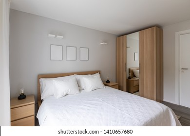 Stylish modern bedroom. No one inside