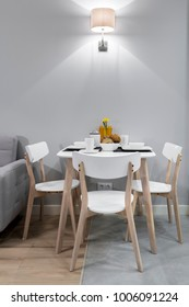Stylish modern breakfest table in modern apartment