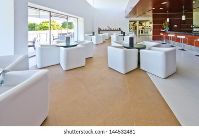 Stylish modern interior of the restaurant, cafe, bar of the luxury Mexican resort. Interior design.