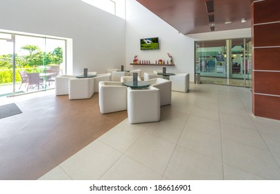 Stylish modern interior of the restaurant, cafe, bar of the luxury resort.