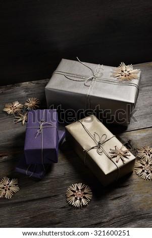 Stylish Modern Rustic Christmas Gifts Box Stock Photo (Edit Now ...