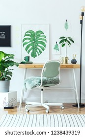 Stylish and modern scandinavian interior of home office desk with mock up poster frames, a lot of plants , office accessories and lamp. Modern composition of homeoffice desk.