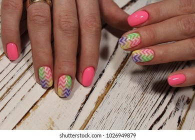 stylish nail polish pink nails with a pattern