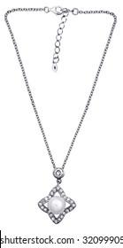 Stylish necklace with gemstones  isolated on the white background