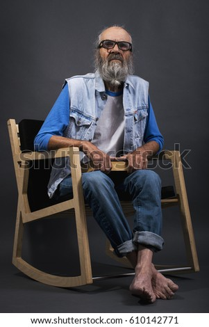 Stylish Old Man Beard Rocking Chair Stock Photo Edit Now 610142771