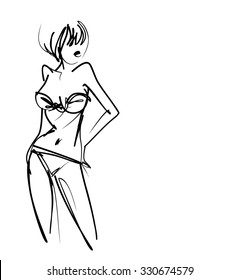 stylish  original hand-drawn graphic with beautiful young   girl model for design. Fashion, style, youth, fitness, sports, beauty. Graphic, sketch, drawing. Sexy body.