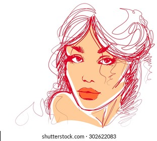 stylish  original hand-drawn graphics portrait  with beautiful young attractive girl model for design.