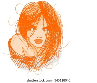 stylish  original hand-drawn graphics portrait  with beautiful young attractive girl model for design. Fashion, style,    beauty . Graphic, sketch drawing. Sexy  woman