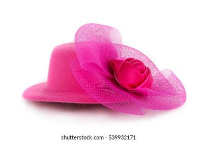 Stylish pink hat shot over white background