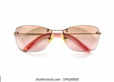 Stylish pink sunglasses isolated white background.