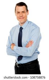 Stylish portrait of handsome businessman against white background