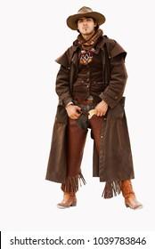 stylish real cowboy isolated on white background.
