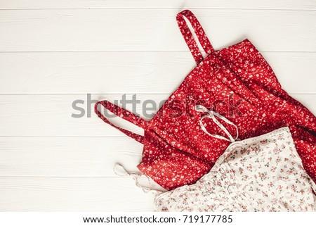 12698c3295d Stylish Red Floral Blouse Closeup Flat Stock Photo (Edit Now ...