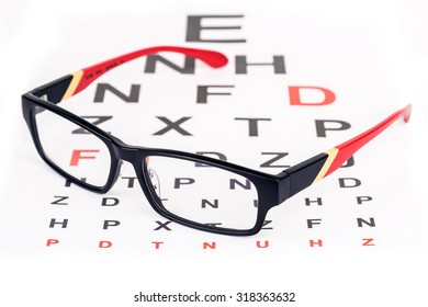 Stylish red framed specs over English eye test chart