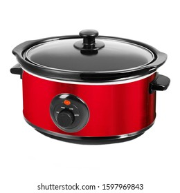 Stylish Red Slow Cooker in Stainless Steel Isolated on White Background. Modern Cooker with Keep Warm Function & Removable Pot Front View. Small Domestic and Kitchen Appliances. Power Indicator Light
