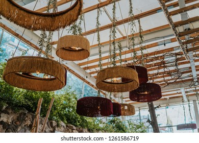 Stylish restaurant lamp shades, modern design elements, yellow and red