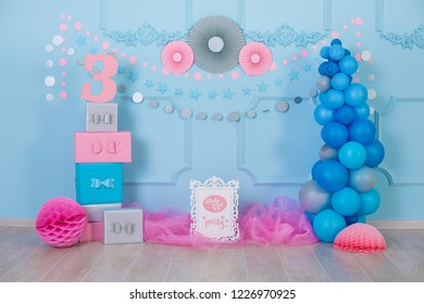 Stylish retro home studio with decor inspired by designers and florist soul with colorful baloons and gifts for celebration holiday event.