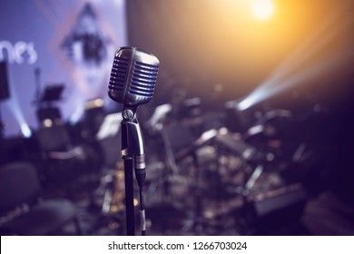 stylish retro microphone on an empty stage