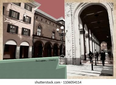 stylish retro postcard of Bologna, Italy