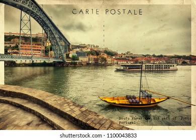 stylish retro postcard of Douro river and Porto, Portugal