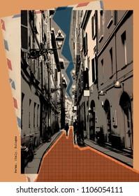 stylish retro postcard of Parma, Italy
