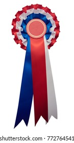 A stylish retro vintage Award rosette medal badge with ribbon in the USA united states and englands flag's colours. red and blue color. isolated and cutout on white.