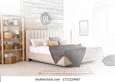 Stylish room with big comfortable bed. Illustrated interior design