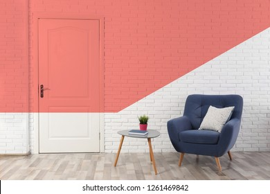 Stylish room interior. Idea for renovation and design with living coral color