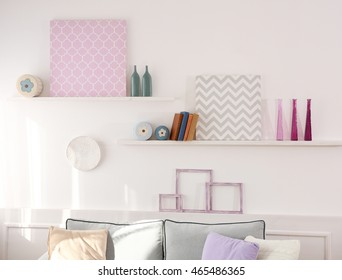 Stylish room interior on white wall background