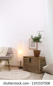 Stylish room interior with young olive tree. Space for text