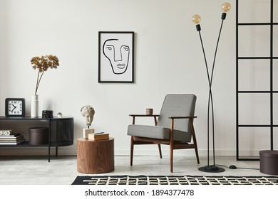 Stylish scandinavian composition of living room with design armchair, black mock up poster frame, commode, wooden stool, book, decoration, loft wall and personal accessories in modern home decor. - Shutterstock ID 1894377478