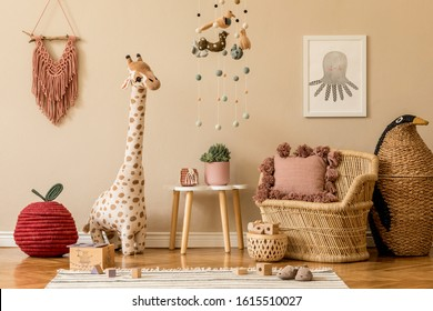 Stylish scandinavian interior of child room with mock up frame, natural toys, hanging decoration, design furniture, plush animals, teddy bears and accessories. Interior design of kid room. Template.