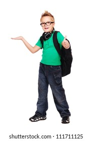 Stylish schoolboy with a bag and headphones full length portrait making a presenting gesture