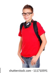 Stylish schoolboy with bag and headphones on white background